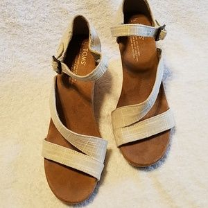 TOMS cork wedge sandles